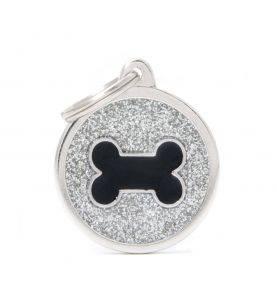 Hundetegn Shine Cirkel m. Kødben Sølv