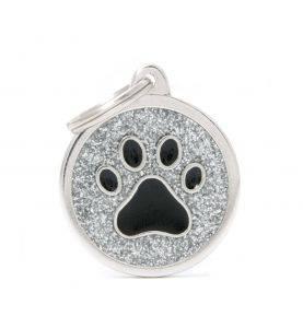 Hundetegn Shine Cirkel m. Pote Sølv