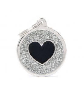 MyFamily Hundetegn Shine Cirkel m. Hjerte Sølv